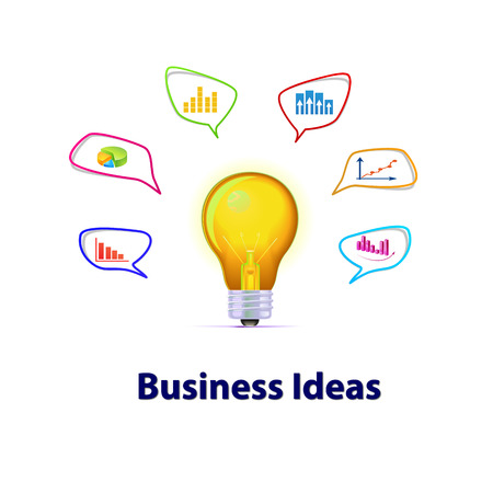 The light bulb with business ideas photo