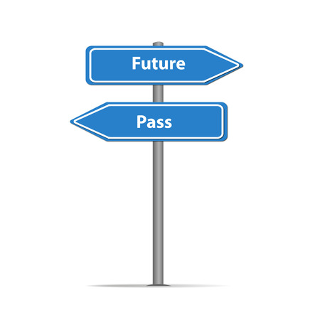 traffic sign pass and future-01 Stock Photo