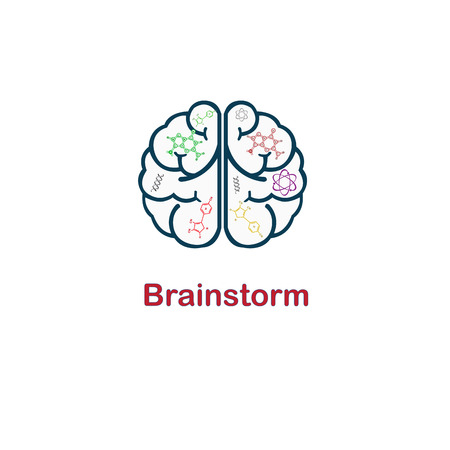 chemically: Brain with icons concept in science