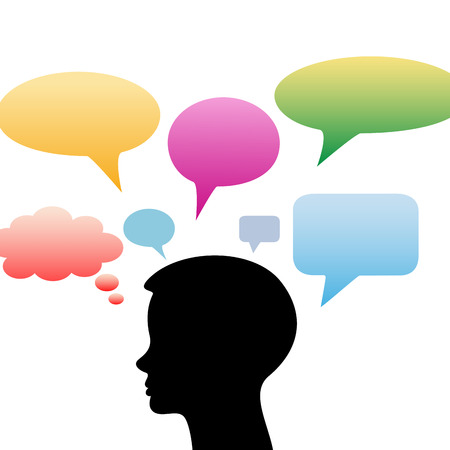 suggestions: People with colorful speech bubble as idea concept