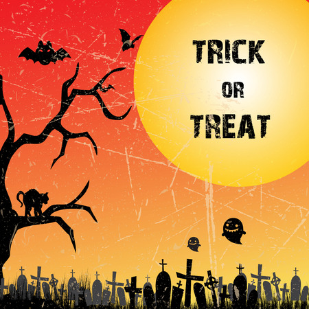 trick or treat in Halloween night photo