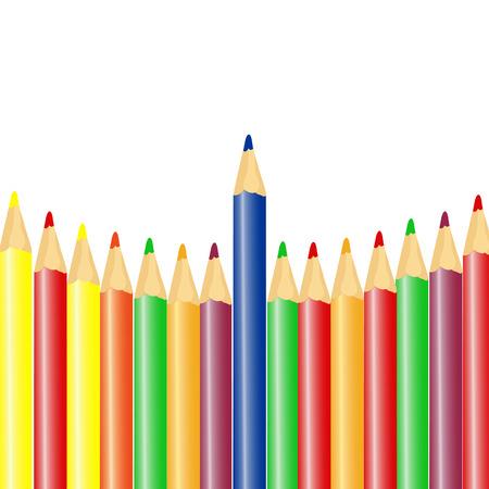 arrange: Color pencils in arrange in rowon white background Stock Photo
