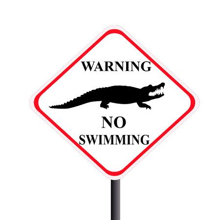 no swimming sign: Caution crocodile Stock Photo