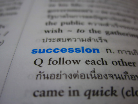 succession: The blue succession letters in the book