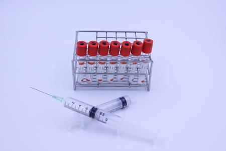 anticoagulant: Blood tube and syringe for testing in laboratory