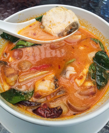 Tom Yum soup, a Thai traditional spicy fish soup
