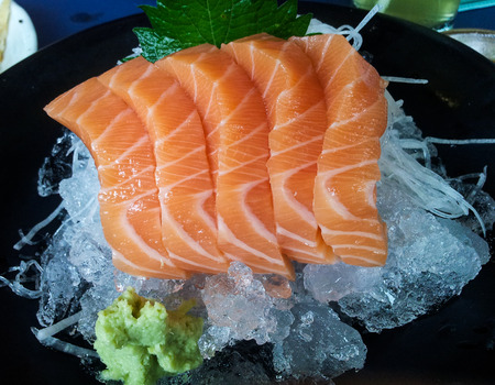 Big fresh salmon on ice