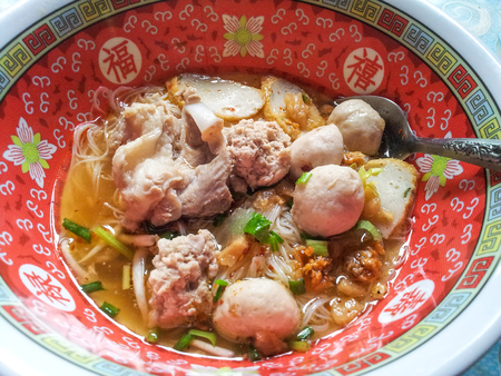 chinese meal: Noodle with pork