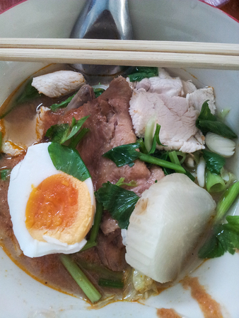thai noodle soup: Thai Noodle Soup with Pork and egg