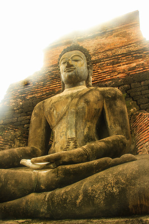 Old Big Buddha statue in the public temple, Thailand Stock Photo