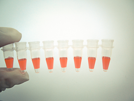Small test tube in laboratory with vintage color