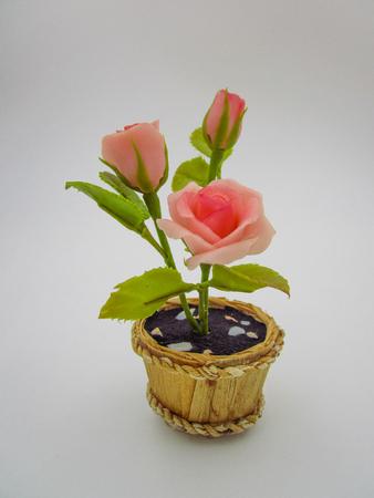 Pink rose on flower pot in vintage color