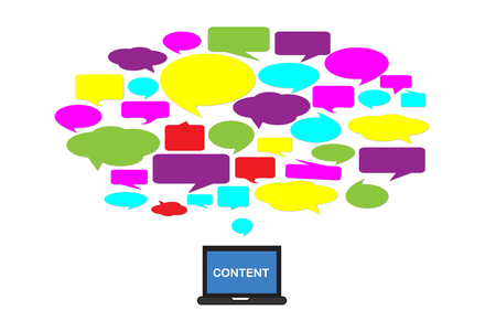 Content marketing with bubble speech and notebook on white background Фото со стока