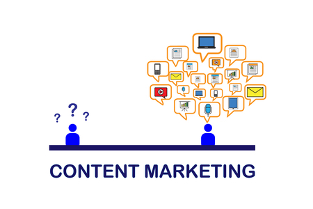 Content marketing data with mail, social media, podcast, video, paper, news, article on white background Stock Photo