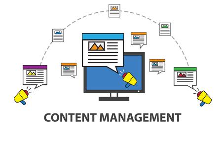 Inhalt mit Papier, Nachrichten und Artikeln auf weißem Hintergrund