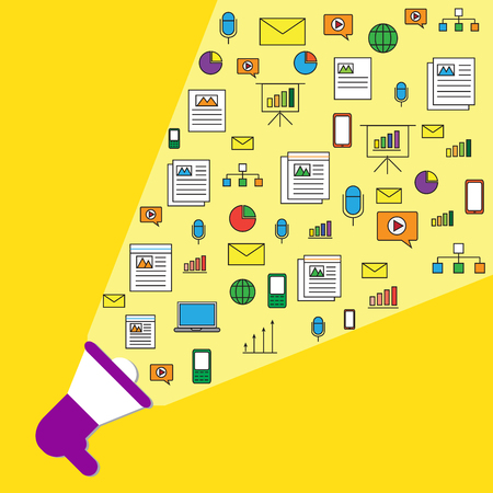 The big violet podcast with content marketing icons on the yellow background Archivio Fotografico