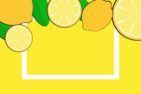 The yellow lemon with green leaves on the yellow background