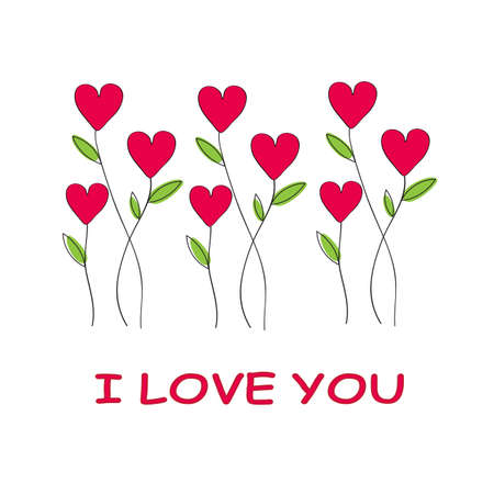 Red heart plants with  I Love you letter on white background, Valentine's day