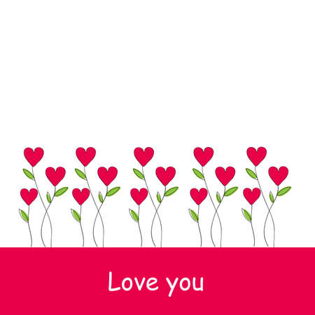 Red heart plants and I love you letters on white and pink background, Valentine's day