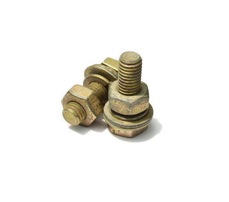 bolt and nut isolated on white background photo