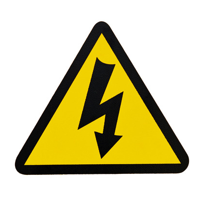 voltage symbol: Sign of Danger High Voltage Symbol isolated on White Stock Photo