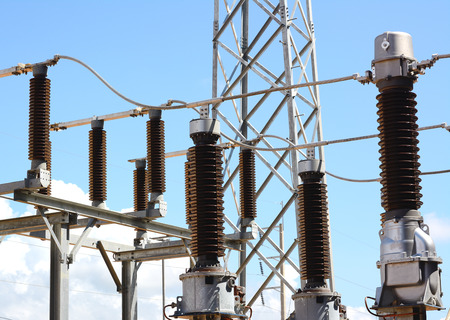 Close up of high voltage insulators at new substation
