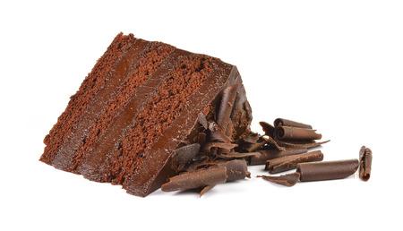 Chocolate cake slice with curl on white background Standard-Bild