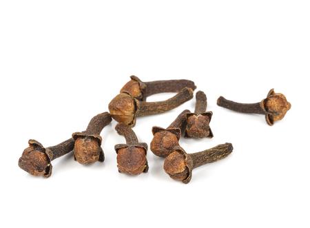 Spice cloves on white background