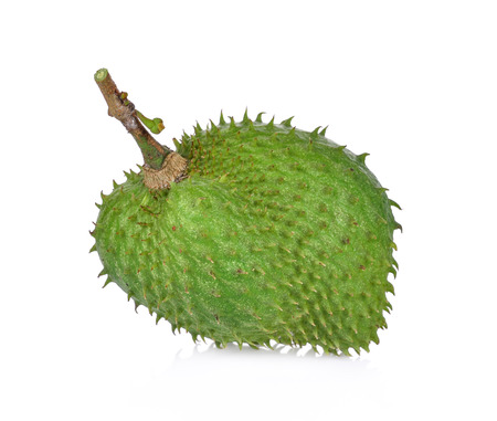 Soursop fruit on white background