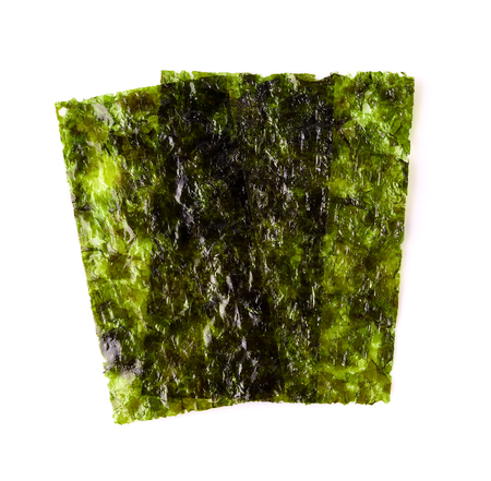 Dry seaweed on white background. Archivio Fotografico