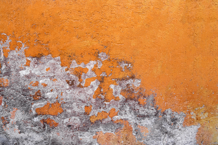 Old orange concrete wall, background, texture