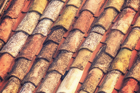 Old tiled roof, background, texture Stock Photo