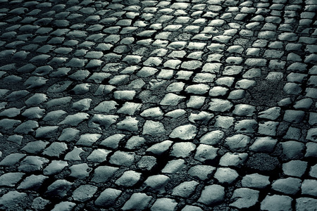 Wet Cobblestone Road at night, background, texture