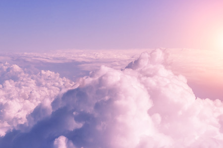 Top view of dense fluffy pink clouds, background Stock Photo