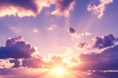 Romantic pink sunset sky, background Фото со стока
