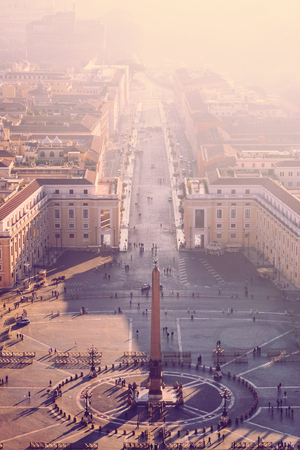 Top view of the Saint Peters square in Vatican city on a sunny day, Italy Stock Photo
