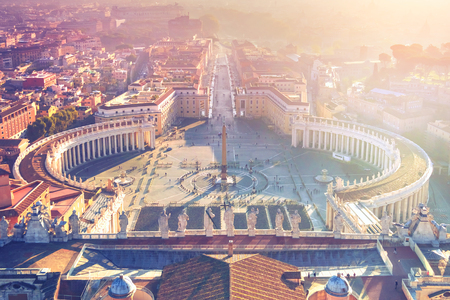 Top view of the Saint Peters square in Vatican city, Italy Stock Photo