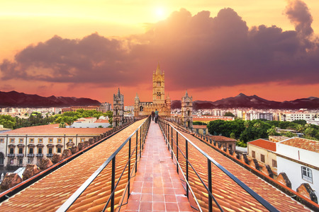 Beautiful sunset sky over the Bell towers of the Cathedral of Palermo, Italy Banque d'images
