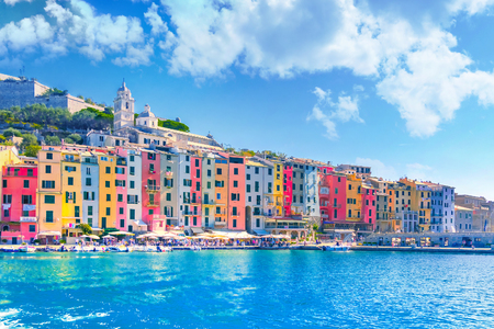 View of town Portovenere from sea, Italy