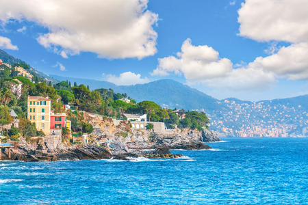 View from the sea to the Bogliasco - fishermens Village of the Ligurian Riviera Banco de Imagens