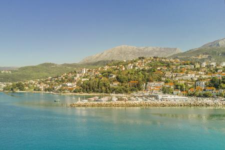 Top view of the beautiful city on the seashore 版權商用圖片
