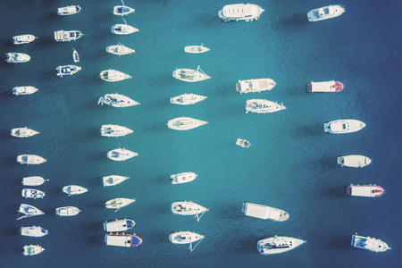 Top view of the yacht marina