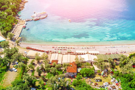 Top view of beach in a seaside resort in the sunlight Stock Photo