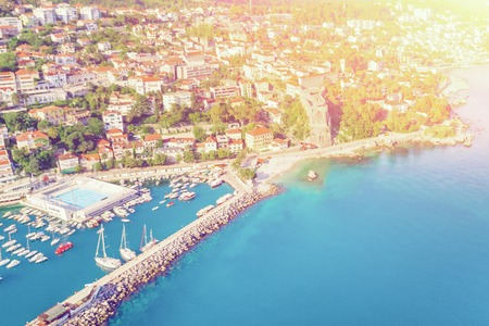 Top view of a beautiful European city and marina in the sunlight Stock Photo