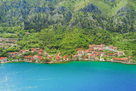 Aerial view of the beautiful city near the mountains and the sea Stock Photo
