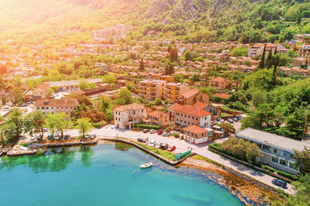 Top view of an old European city in sunlight Stock Photo