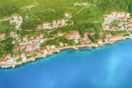 Panoramic view of the beautiful city in the mountains by the sea