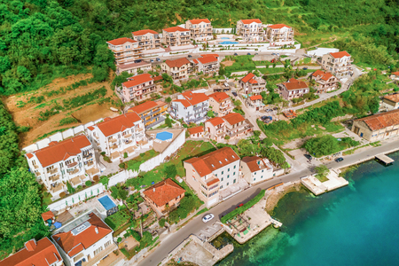 Houses near the sea, top view