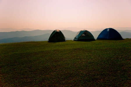 Relaxing, hiking, watching stars, the middle ground of the tent,Thailand, Sri Nan National Park, Doi Samer Dao, Camping, Mountain, Landscape, Nature, Tent photo