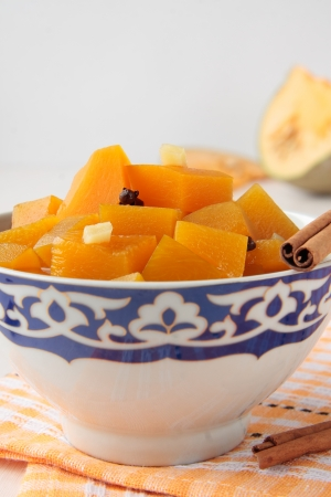 estonian: Slices of pumpkin marinated with cinnamon, ginger and cloves Stock Photo